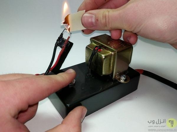 آموزش ساخت فندک برقی با باتری در خانه