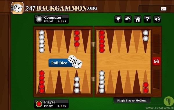 بازی تخته نرد با کامپیوتر در 247backgammon