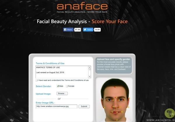 بررسی زیبایی چهره Anaface