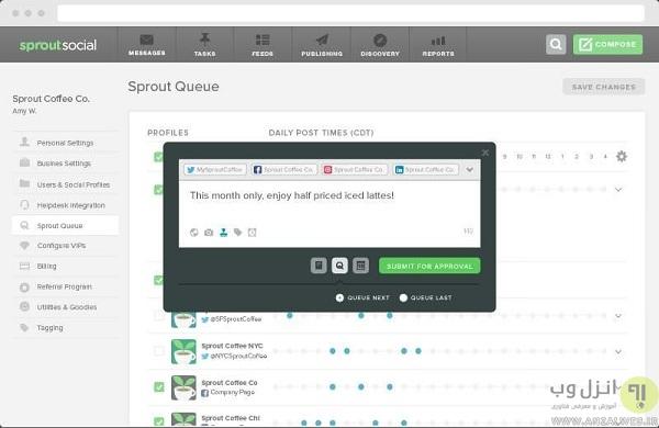 معرفی سرویس نمای Sprout Social برای پست زمانبندی اینستاگرام