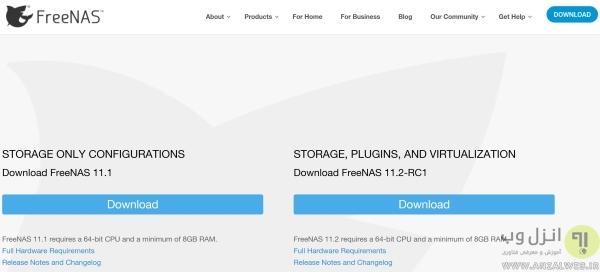 نصب FreeNAS برای ساخت سرور مجازی