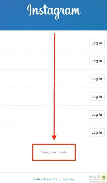 خارج شدن از حساب های قبلی برای رفع مشکل sign up error در اینستاگرام