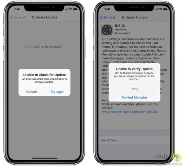 ارور Unable to Check for/Verify Update در هنگام آپدیت iOS