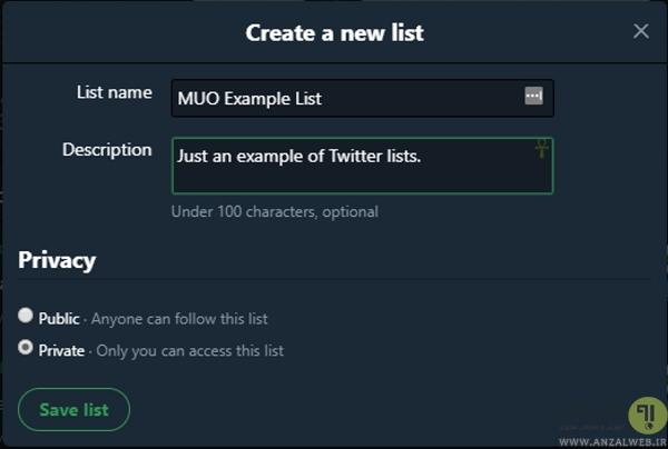 آموزش استفاده از Lists در توییتر