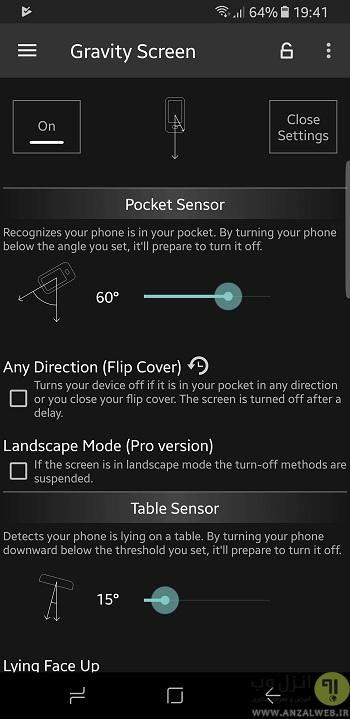 برنامه جایگزین دکمه پاور اندروید Gravity Screen