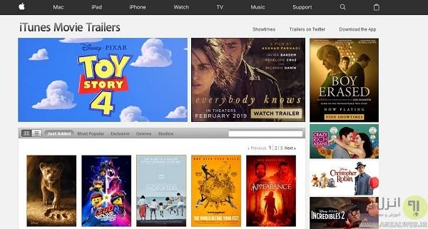 مشاهده تریلر فیلم خارجی جدید در Apple Trailers