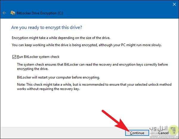 انتخاب مد رمزگذاری ( تنها برای ویندوز 10)