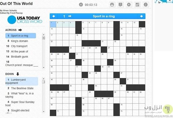 جدول و سرگرمی در سرویس رایگان puzzles.usatoday