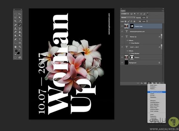 اضافه کردن لایه های Adjustment در طراحی پوستر با فتوشاپ