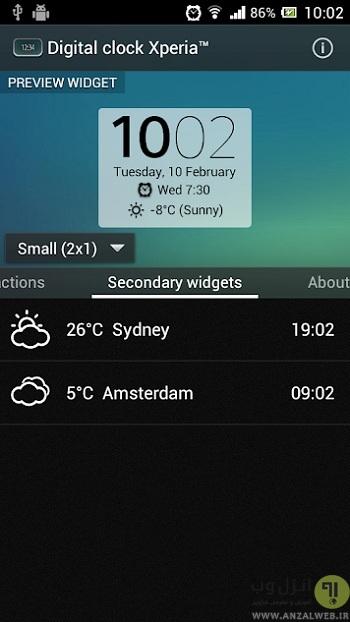 برنامه ساعت Digital Clock Widget Xperia