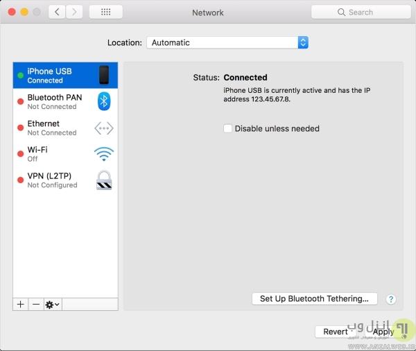 مشکل در هات اسپات آیفون با USB