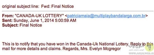 کلاهبرداری آنلاین با قرعه کشی (Lottery scam)
