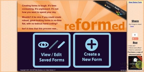 ساخت فرم آنلاین در reFormed