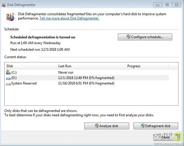 آموزش زمانبندی Disk Defragmenter در ویندوز 7، 8 و 10