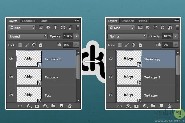 ایجاد تغییرات روی استیکر متنی با فتوشاپ