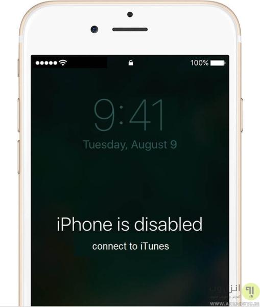 پیغام های خطای قفل شدن ایفون iPhone is Disabled Connect to iTunes
