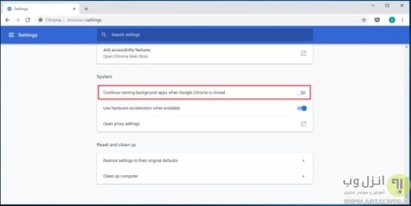 جلوگیری از فعالیت برنامه در پس زمینه ویندوز در تنظیمات مرورگر کروم