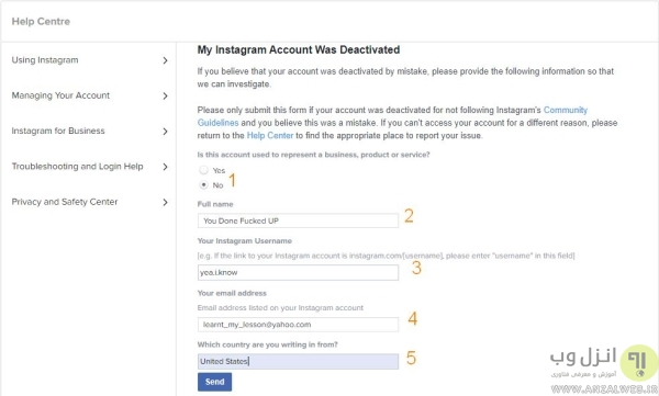 مشکل Your Account has been Disabled اینستاگرام برای اکانت های شخصی