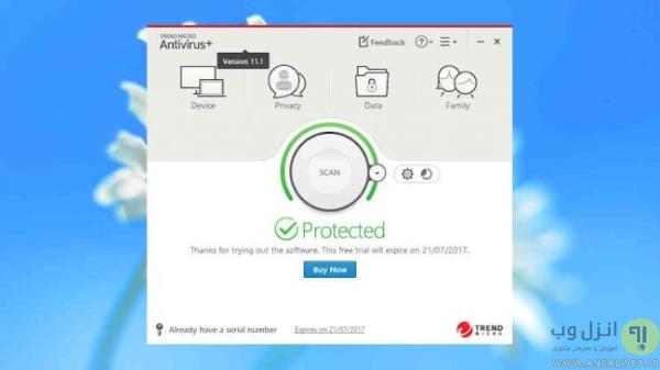 Trend Micro Antivirus+Security براي ويندوز 10، 8 و 7