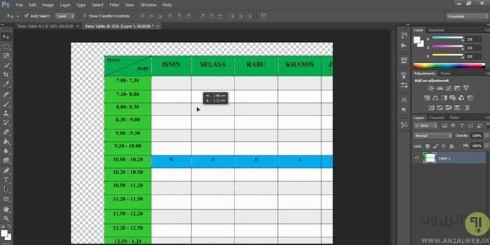 نحوه کشیدن جدول و چارت در فتوشاپ (Photoshop)