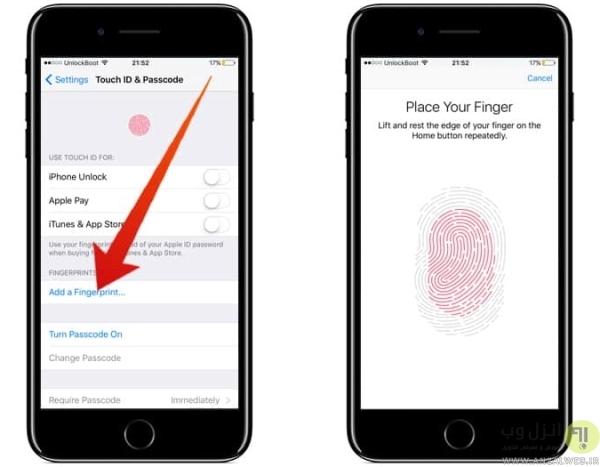 فعال کردن Touch ID در تنظیمات آیفون برای رفع مشکل ارور Unable To Activate Touch ID on This iPhone