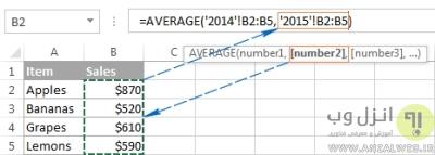 فرمول نویسی در اکسل با تابع به روش وارد کردن مستقیم تابع