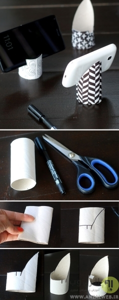 ساخت نگهدارنده گوشی با رول دستمال توالت