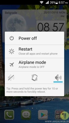 ریستارت کردن گوشی و دستگاه برای رفع مشکل بلوتوث اندروید