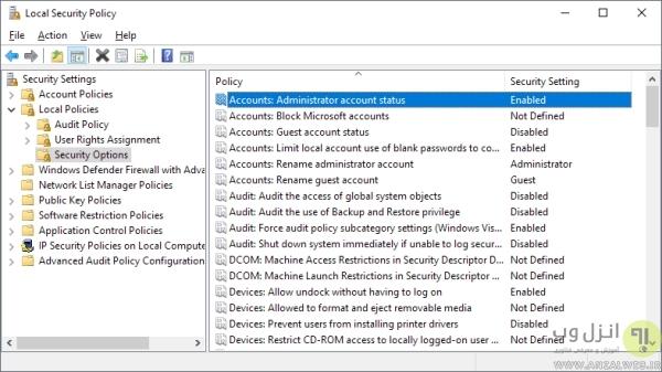 استفاده از Security Policies برای فعال کردن حساب ادمین در ویندوز 10