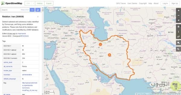 نقشه ایران آنلاین ماهواره ای اوپن استریت مپ