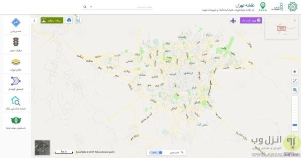 نقشه خیابان های تهران به صورت فارسی و آنلاین