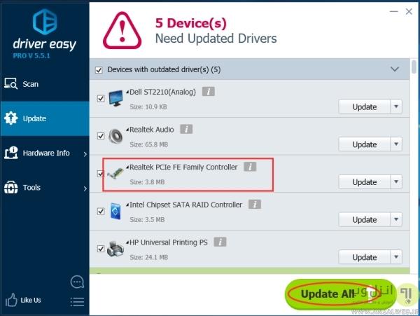 آپدیت کردن درایور کارت شبکه در زمان عدم شناسایی کارت شبکه در ویندوز 7 و..