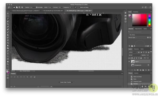 انتقال مناطق انتخاب شده به لایه جدید برای تبدیل عکس به PNG در فتوشاپ