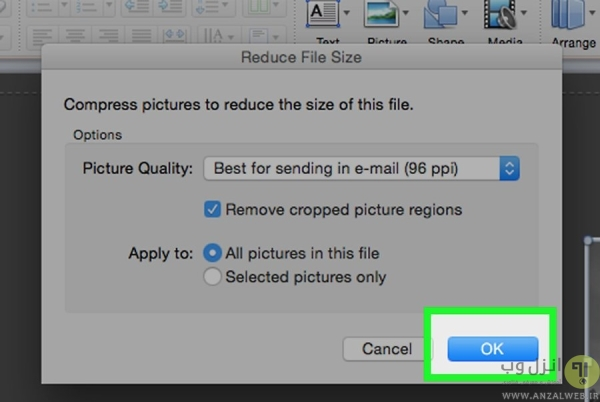 فشرده کردن عکس ها در پاورپوینت مک برای کاهش حجم فایل پاورپوینت