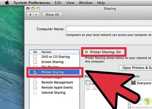 اشتراک گذاری پرینتر در شبکه روی سیستم عامل مک