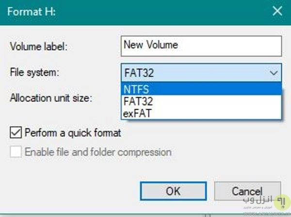 تغییر فرمت فلش و هارد با استفاده از برنامه جهت مشکل در کپی فایل های حجیم در هارد اکسترنال بدون فرمت