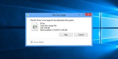 رفع مشکل ارور File Too Large ویندوز 10 ، 8 و 7