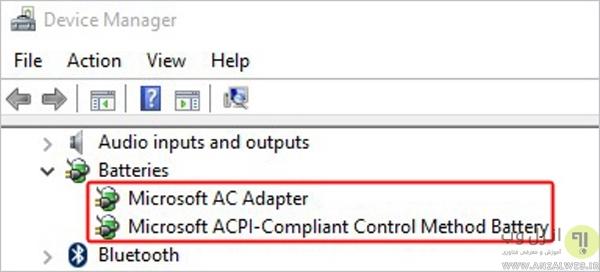 نحوه حل مشکل غیر فعال شدن آیکون باتری لپ تاپ در ویندوز با استفاده از غیر فعال کردن درایور
