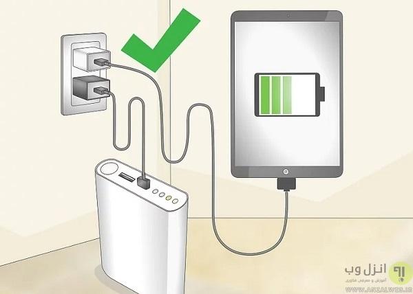 شارژ پاور بانک با شارژر موبایل