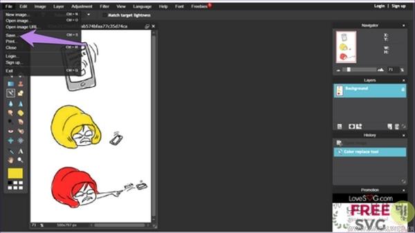 روش استفاده از برنامه تغییر رنگ عکس آنلاین Pixlr