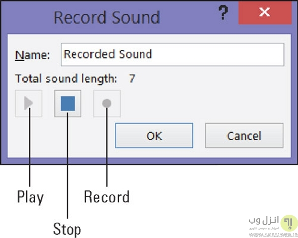 نحوه صداگذاری صدا روی پاورپوینت در ویندوز (ضبط صدا)