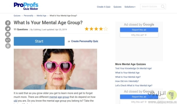 Proprofs برای محاسبه سن عقلی استاندارد