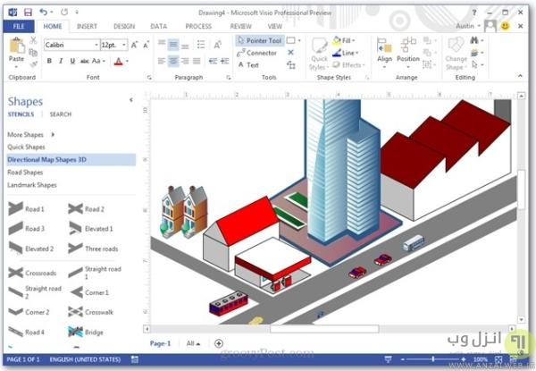 آموزش نقشه کشی با Visio، طراحی سه بعدی و مدلسازی