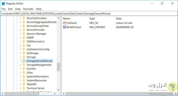 حل مشکل پیغام The Disk Is Write-protected با ویرایش رجیستری ویندوز 10 و 8