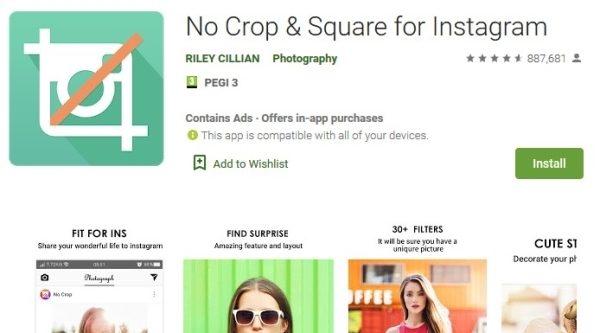 نرم افزار تنظیم عکس برای اینستاگرام No Crop & Square for Instagram