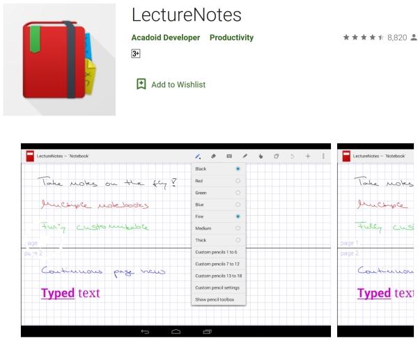 برنامه LectureNotes برای نوشتن با انگشت در اندروید