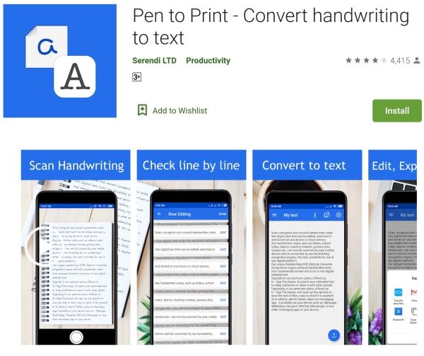 تبدیل دستخط به متن تایپ شده در Pen to Print