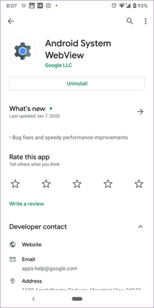 آپدیت کردن Android System WebView