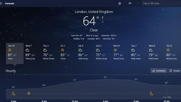گجت آب و هوا ویندوز 10 و.. MSN Weather