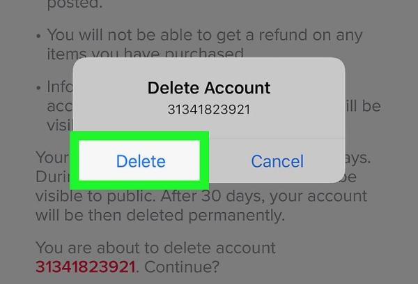 نحوه حذف اکانت تیک تاک